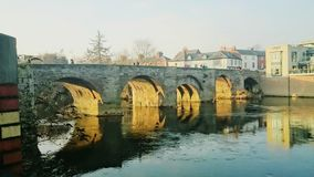 Hereford bridge in Wales. United Kingdom. Sunset over a river in Hereford Stock Image
