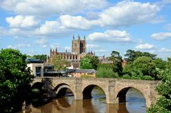 Hereford Cathedral and River Wye. Royalty Free Stock Photography