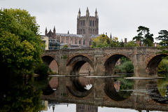 Hereford Cathedral, River Wye and Wye Bridge, Hereford Royalty Free Stock Photo