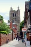 Hereford, Engeland: De kathedraal sluit Mening Stock Foto