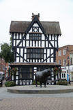 Hereford High Town Old House and Bull. Hereford High Town Old House timber framed building built in 1621 museum of daily life in Jacobean times Herefordshire UK Stock Images