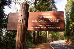 Hereinkommender Mammutbaum-Staatsangehöriger Forest Road Sign California Parks Lizenzfreie Stockbilder