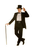 Heren in kostuum met hoge zijden en riet royalty-vrije stock foto's