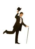 Heren in kostuum met hoge zijden en riet stock fotografie