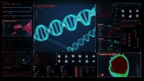 herencia DNA humana, uso médico futurista Interfaz de usuario de Digitaces el panel de exhibición stock de ilustración