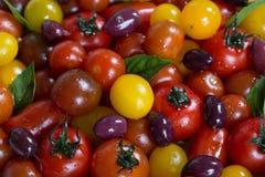 Herencia rústica Cherry Tomato Salad con albahaca y aceitunas Imágenes de archivo libres de regalías