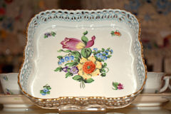 Herend porcelain from Hungary. With flower motivs Royalty Free Stock Photos