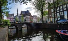 Herengracht运河在阿姆斯特丹 免版税图库摄影