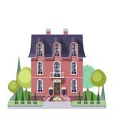 Herenhuishuis in Franse stijl met tuin Royalty-vrije Stock Fotografie