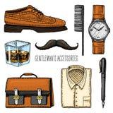 Herentoebehoren victorian hipster of zakenman, stock illustratie