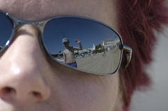 Heres looking at you !!. Young man reflection in sunglasses royalty free stock photos
