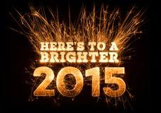 Heres a um cumprimento 2015 mais brilhante no fundo escuro Fotos de Stock Royalty Free