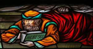 Heretic - Stained Glass in Mechelen Cathedral Stock Images