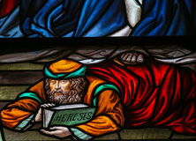 Heretic - Stained Glass in Mechelen Cathedral Stock Photos