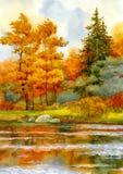Herfst bos op het meer Royalty-vrije Stock Afbeelding