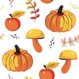 Herfst naadloze patroonappelen, pompoen, paddestoel royalty-vrije illustratie