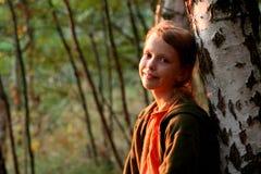Herfst portret bij zonsondergang Royalty-vrije Stock Afbeeldingen