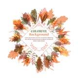 Herfst rond frame Kroon van de herfstbladeren Stock Afbeelding