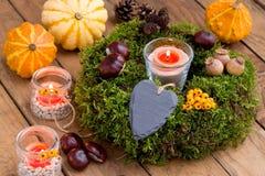 Herfstdecoratie - moskroon en leihart Stock Fotografie