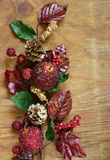 Herfstsamenstelling met vruchten en bladerendecoratie voor Dankzegging Royalty-vrije Stock Afbeelding