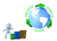 Hergebruik, het Kringloop, vermindert! Stock Fotografie