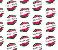 Herhaal de hand van het watermeloenpatroon witte achtergrond trekt Royalty-vrije Stock Afbeeldingen
