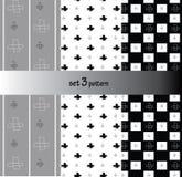 Herhaal dwarsachtergrond van de patroon de moderne grafische vector zwarte, grijze krabbel Stock Foto's