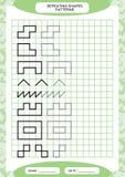 Herhaal patroon Het vinden Lijnenactiviteit, Speciaal voor peuterjonge geitjes Aantekenvel voor het uitoefenen van fijne motorvaa stock illustratie