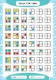 Herhaal patroon Vierkant net met colorfullcirkels Speciaal voor peuterjonge geitjes Aantekenvel voor het praktizeren fijne motor vector illustratie