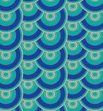 Herhaal van de het serpentschaal van de punt blauw geometrisch samenstelling van de kleurenpunten de cirkels abstract vectorpatro Stock Foto's