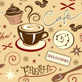 Herhaal Winkel en de Snoepjes van de Patroon de Hete Verse Koffie Royalty-vrije Stock Afbeelding