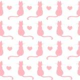 Herhaald hand getrokken patroonontwerp met katjes en harten Stock Afbeeldingen