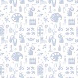 Herhaald naadloos patroon met voorwerpen voor jonge geitjes creatieve lessen in vlakke stijl royalty-vrije illustratie