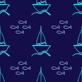 Herhaald overzicht van met de hand getrokken zeilboten en vissen Eenvoudig marien naadloos patroon royalty-vrije illustratie