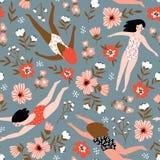 Herhaalde achtergrond met cijfers van jonge meisjes in zwempakken van verschillende nationaliteiten Vector illustratie stock illustratie