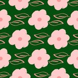 Herhaalde die bloemen en bladeren met de hand met ruwe borstel worden getrokken Vrouwelijk bloemen naadloos patroon Grunge, schet vector illustratie