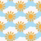 Herhaalde die wolken en zonnen met een ruwe borstel worden geschilderd Kleuren naadloos patroon Stock Foto