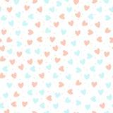 Herhaalde hand getrokken harten op witte achtergrond Leuk naadloos patroon Eindeloze romantische druk Vector illustratie royalty-vrije illustratie