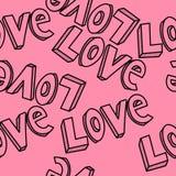 Herhaalde het patroonvector van de liefdehand getrokken typografie ontwerp Royalty-vrije Stock Afbeelding