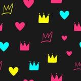 Herhaalde kronen en harten Leuk girly naadloos patroon Eindeloze kleurrijke meisjesachtige druk royalty-vrije illustratie