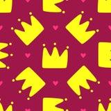 Herhaalde kronen en harten Leuk naadloos patroon voor kinderen vector illustratie