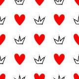 Herhaalde met de hand getrokken harten en kronen Leuk naadloos patroon Schets, krabbel, gekrabbel royalty-vrije illustratie