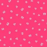 Herhaalde met de hand getrokken harten, sterren en kronen Leuk girly naadloos patroon royalty-vrije illustratie