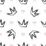 Herhaalde met de hand getrokken kronen en harten Eenvoudig naadloos patroon Schets, krabbel, gekrabbel vector illustratie