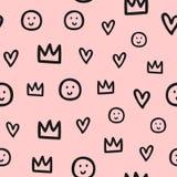 Herhaalde overzichten van kronen, harten en glimlachen Leuk naadloos patroon voor kinderen Schets, krabbel, gekrabbel royalty-vrije illustratie