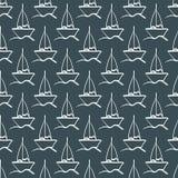 Herhaalde schets van de hand van een zeilboot op de golven Naadloos patroon Stock Afbeelding