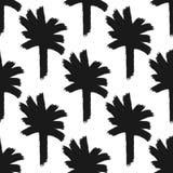 Herhalend abstracte die silhouetten van palmen met de hand met ruwe borstel worden getrokken vector illustratie