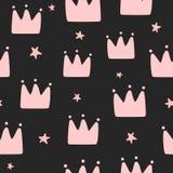 Herhalend met de hand getrokken kronen en sterren Eenvoudig naadloos patroon voor kleine prinsessen vector illustratie