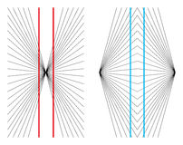 Hering and Wundt geometrical optical illusions. The two straight and parallel red lines appear as if they were bowed outwards and the two blue vertical lines Royalty Free Stock Images