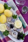 Heringe mit Kartoffeln Lizenzfreie Stockbilder